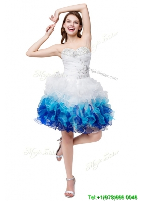 Cute Puffy Sweetheart  Beaded and Ruffled Short Prom Dresses in Multi Color