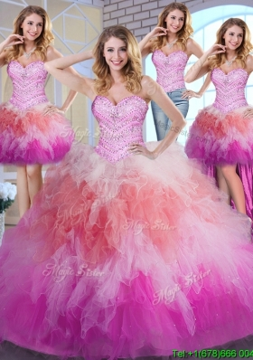Unique Rainbow Colored Quinceanera Dress with Beaded Bodice and Ruffles