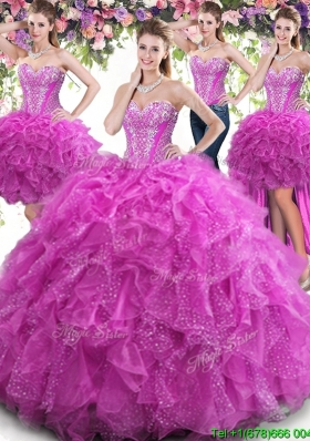 Pretty Beaded Bodice and Ruffled Fuchsia Detachable Quinceanera Dresses in Tulle