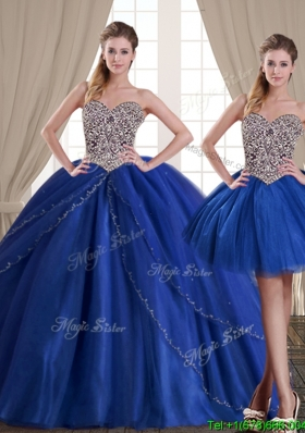 Unique Ball Gown Beaded Bodice Removable Quinceanera Dresses in Royal Blue