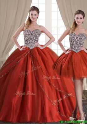 Top Seller Beaded Bodice Rust Red Detachable Quinceanera Dresses with Brush Train