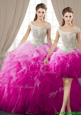Beaded Bodice and Ruffled Off the Shoulder Detachable Quinceanera Dresses in Organza