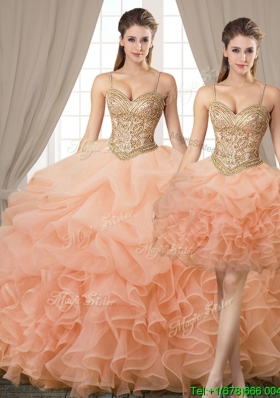 Best Selling Beaded Bodice Spaghetti Straps  Removable Quinceanera Dresses in Orange