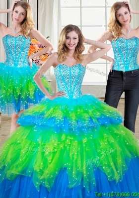 Hot Sale Visible Boning Rainbow Colored Detachable Quinceanera Dresses with Beading and Ruffled Layers
