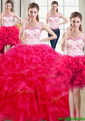 Modest Straps Laced Bodice and Beaded Top Removable Quinceanera Dresses in Organza