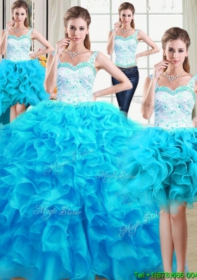 Cheap Ball Gown Straps Ruffled Laced Bodice Detachable Quinceanera Gowns in Baby Blue