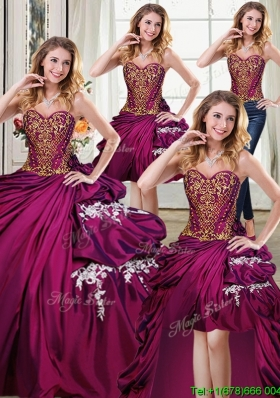 Fashionable Bubble Applique and Beaded Bodice Taffeta Removable Quinceanera Dresses in Burgundy