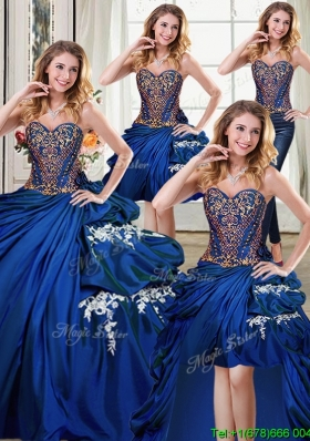 Elegant Beaded and Bubble Applique Detachable Quinceanera Gowns in Royal Blue