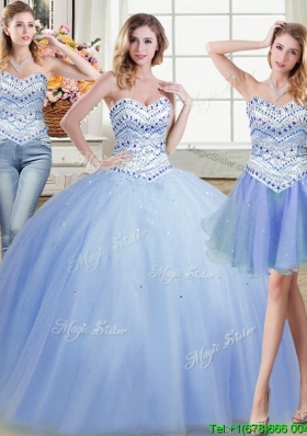 Wonderful Light Blue Sweetheart Tulle Detachable Quinceanera Dresses with Beading