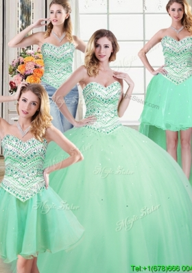 Best Selling Tulle Sweetheart Apple Green Detachable Quinceanera Dresses with Beading