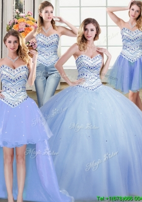 Romantic Ball Gown Beaded Bodice Removable Quinceanera Dresses in Light Blue