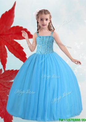 Pretty Straps Baby Blue Little Girl Pageant Dress with Beading