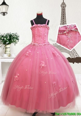 Elegant Visible Boning Straps Beaded and Applique Little Girl Pageant Dress in Tulle