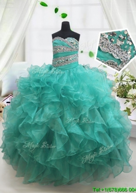 Pretty Beaded and Ruffled Turquoise Little Girl Pageant Dress in Organza