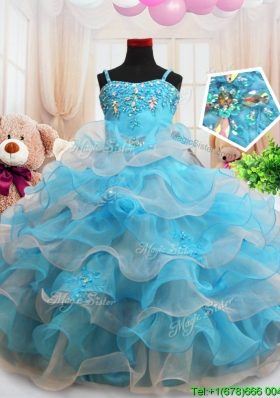 Classical Ruffled Layers Zipper Up Little Girl Pageant Dress in Baby Blue and Light Pink