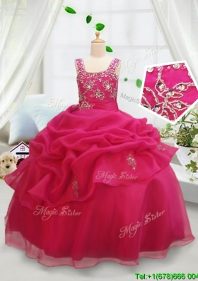 Cute Beaded and Bubble Square Hot Pink Little Girl Pageant Dress with Zipper Up