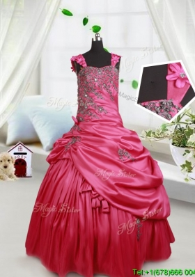 Sweet Applique Decorated Straps Taffeta Little Girl Pageant Dress with Beading