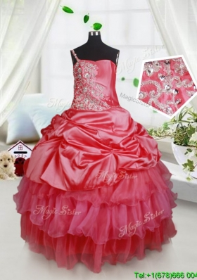 Elegant One Spaghetti Straps Little Girl Pageant Dress with Beading and Ruffled Layers