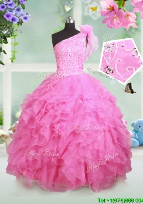 Classical One Shoulder Beaded and Ruffled Little Girl Pageant Dress in Rose Pink