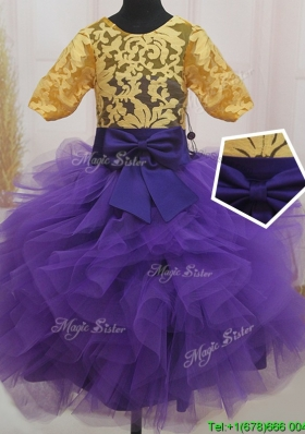 Bowknot and Laced Eggplant Purple and Gold Little Girl Pageant Dress with Short Sleeves