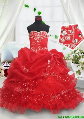 Latest Ruffled Layers and Bubble Sequined Flower Girl Dress in Red