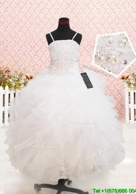 Popular Strapless Straps White Flower Girl Dress with Beading and Ruffles