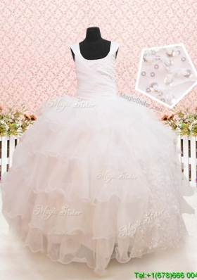 Beaded and Sequined White Flower Girl Dress with Ruffled Layers