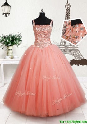 Latest Square Beaded Bodice Tulle Flower Girl Dress in Peach
