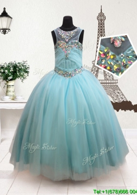 Discount See Through Scoop Zipper Up Flower Girl Dress with Beading