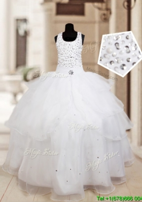 Perfect Halter Top Beaded and Ruffled Layers Flower Girl Dress in Organza
