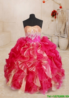 Cute Two Tone Organza Flower Girl Dress with Beading and Ruffles