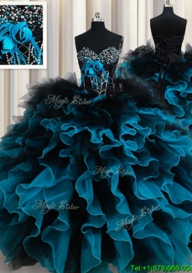 2017 Perfect Organza and Tulle Black and Blue Quinceanera Dress with Ruffles and Beading