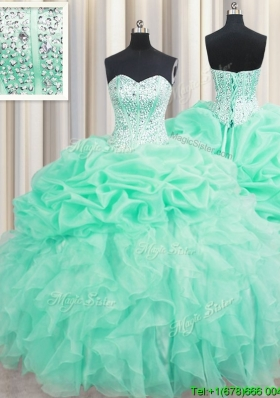Fashionable Visible Boning Mint Quinceanera Dress with Beaded Bodice and Ruffles