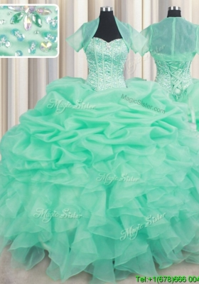 Luxurious Visible Boning Beaded Bodice Apple Green Quinceanera Dress with Ruffles and Bubbles