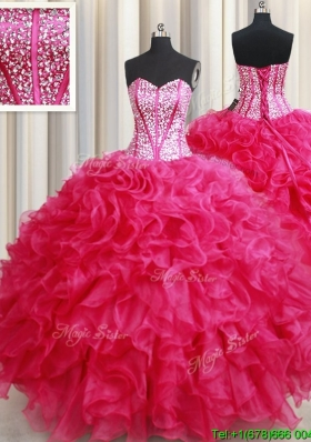 Discount Visible Boning Hot Pink Quinceanera Dress with Beaded Bodice and Ruffles