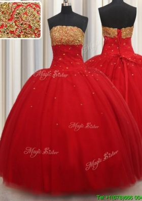 Modest Puffy Skirt Beaded Strapless Red Quinceanera Dress in Tulle