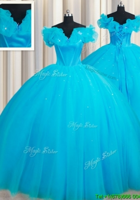 Hot Sale Off the Shoulder Court Train Quinceanera Dress with Handcrafted Flowers