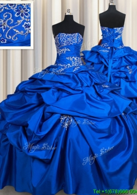 Affordable Strapless Taffeta Royal Blue Quinceanera Dress with Beading and Pick Ups