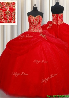 Pretty Big Puffy Tulle Red Quinceanera Dress with Beading and Pick Ups