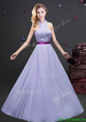 Classical Halter Top Long Bridesmaid Dress with Purple Belt and Ruching