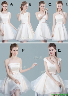 2017 Classical Bowknot Tulle Short Bridesmaid Dress in Off White