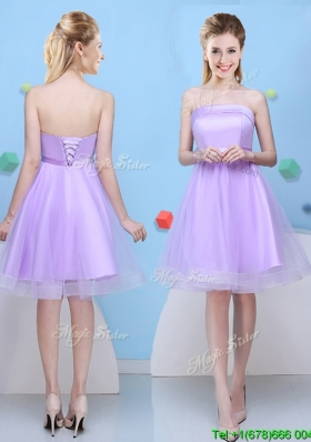 Pretty Strapless Bowknot Lavender Bridesmaid Dress with Lace Up