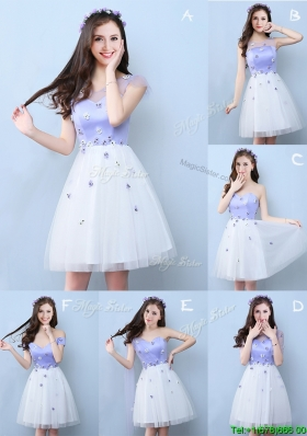 New Style Applique Tulle Short Bridesmaid Dress in White and Lavender
