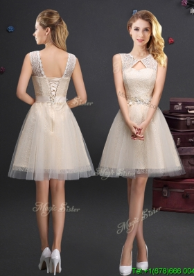 Hot Sale Scoop Laced and Applique Champagne Bridesmaid Dress