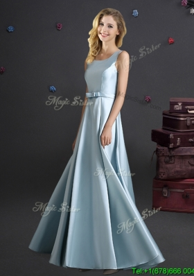 Modest Bowknot Square Long Bridesmaid Dress in Light Blue