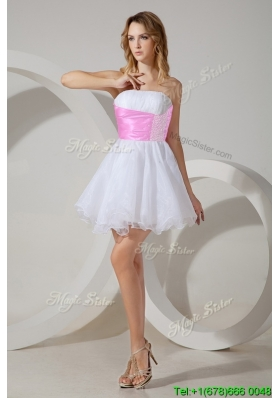 Popular Beaded White Short Bridesmaid Dress with Rose Pink Belt