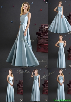 2017 Best Selling Elastic Woven Satin Long Dama Dress in Light Blue