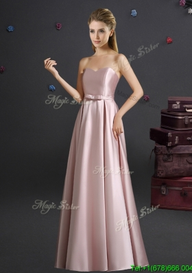 2017 Lovely Empire Sweetheart Bowknot Pink Long Dama Dress
