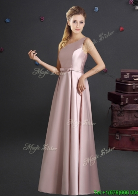 2017 Beautiful Empire One Shoulder Bowknot Pink Dama Dress