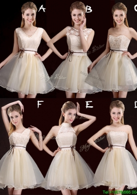 2017 Lovely Belted Organza Short Prom Dress in Champagne